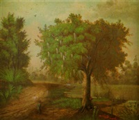 louisiana landscape with a hunter on rutted road by river with cattle watering by marie roussel de calcinara
