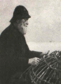 fisherman mending his basketry fish trap by stacy tolman