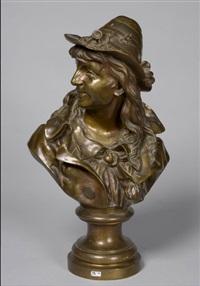 buste d'un jeune berger italien au chapeau fleuri by jules faber