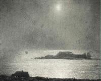 full moon, gloucester harbor by richard andrew