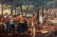 samuel de champlain meets with the indigenous peoples by henry metzger
