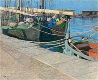 vertäute segelboote by desiderius fangh