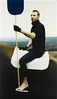 untitled (gilles on a horse with a stick) by xavier veilhan