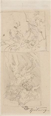 zwei studien eines baumstumpfs by carl spitzweg