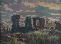 the ruins at llanddwyn island, anglesey under a pink sky by william selwyn