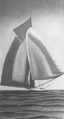 portrait of a yacht under sail by carl ferdinand jacobsen