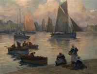 retour de pêche dans le port de concarneau by fernand marie eugène legout-gérard