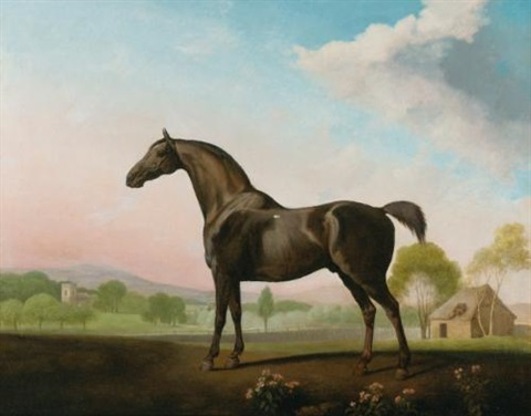 lord grosvenors sweet william in a landscape by george stubbs