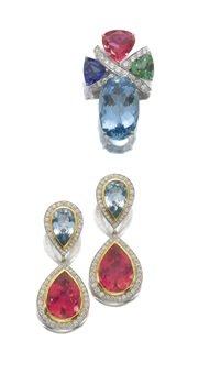 a brooch and pair of ear clips (set of 2) by paloma picasso