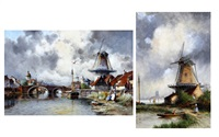 steenbergen - a dutch canal town with barges and windmills (+ windmill at a canal side with figures before; 2 works) by louis van staaten