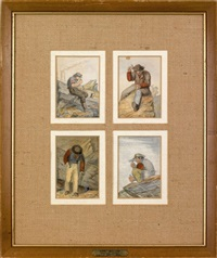 trade scene (+ 10 others; set of 11 works) by karl müller