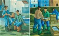 pescadores vascos (pair) by juan de arostegui