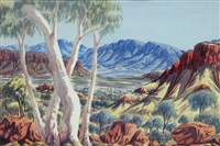 valley with view with four gums in foreground by oscar namatjira