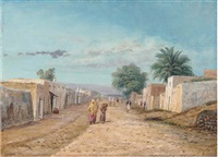 arab figures on a street by e. huber
