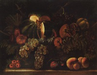 still life of a melon, a pomegranate, grapes, figs, pears and peaches, arranged in a wicker basket, set upon a stone ledge by agostino verrocchi