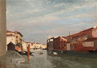 gondolas on the grand canal, venice by jean baptiste van moer