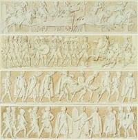 l'empereur passe la revue de la garde à postdam (+ le duc de brunswick blessé à mort à la bataille d'auerstaedt le jour d'iéna, lrgr; 2 works) by alexandre-évariste fragonard