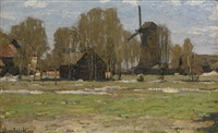 summer landscape with a mill by petr ivanovich petrovichev