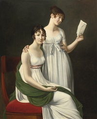 portrait of two young women, said to be the baroness pichon and mme de fourcroy by henri françois riesener