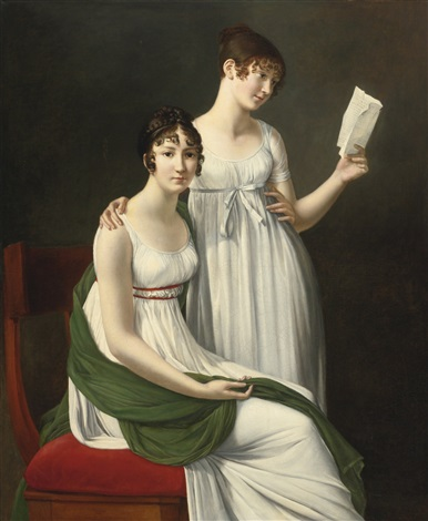 portrait of two young women said to be the baroness pichon and mme de fourcroy by henri françois riesener