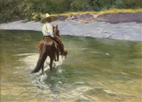 a mexican rider crossing the river by pierre ribera