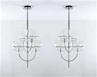 coppia di lampade a sospensione della serie lydon by vico magistretti
