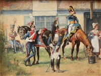 calvary troops watering their mounts by wilhelm velten