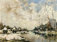 paysage hivernal le long de la lys by albert saverys