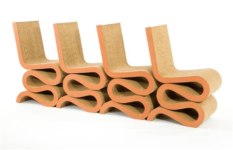 group of 4 wiggle chairs by frank gehry