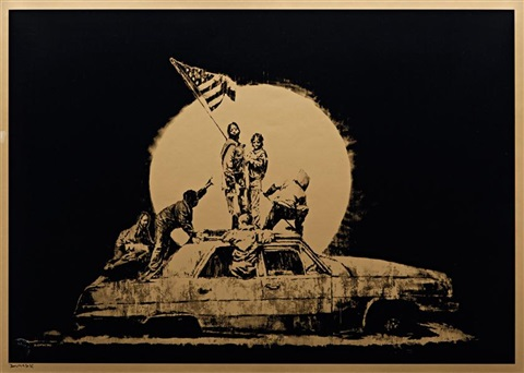 gold flag by banksy