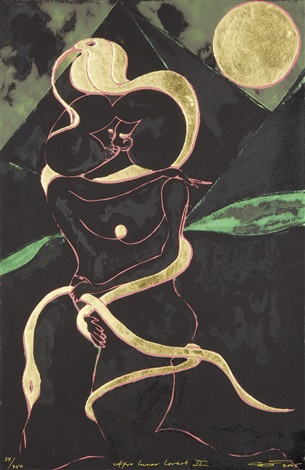 afro lunar lovers ii by chris ofili