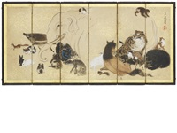 a six-fold hime (miniature-size) screen by gyokusen mochizuki