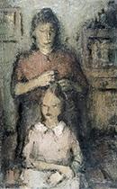 moeder en kind in interieur by louis pevernagie