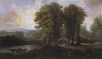 zuiders landschap met koeienhoeders bij een rivier by joseph quinaux