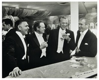 the four kings of hollywood, clark gable, van heflin, gary cooper and jimmy stewart, enjoy a joke at a new york's party at romanoff's, los angeles by slim aarons
