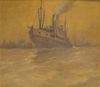 le départ du bateau à vapeur by albert isidore de vos