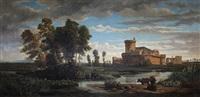 palude con bufale e la veduta del castello di ostia antica by giuseppe raggio