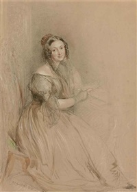 portrait of mrs nasmyth, full-length, seated and holding a letter in her right hand by john linnell