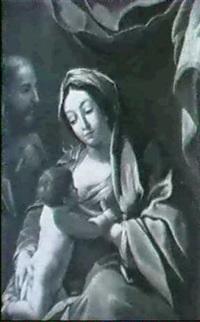 madonna mit kind und hl. josef vor             draperie by johannes baise