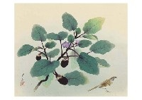 eggplant and birds by sokyu yamamoto