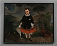 portrait of a boy holding a hoop in the garden with his dog by timothy allen gladding