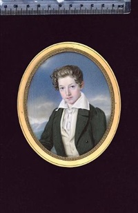 a boy, wearing dark green coat, cream waistcoat and pleated white chemise with wide collar by josef zumsande