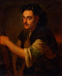 portrait of a man, holding an oar by pieter van bleeck
