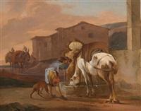 pferd und reiter an der tränke by johann graf