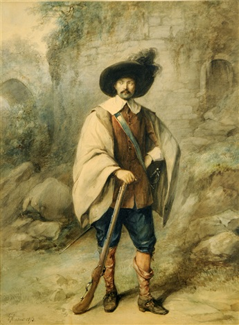 portrait dhomme au fusil by jean baptiste madou