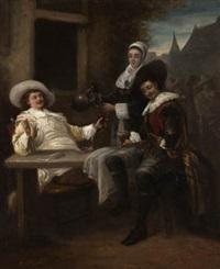 hombres jugando a naipes y bebiendo by josé morillo ferradas