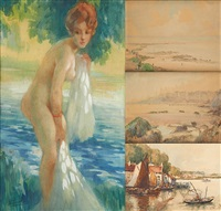 paysages & nue au bain (4 works) by jules lentrein