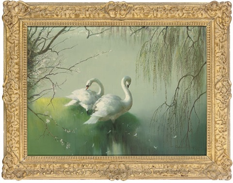 swans beside a lake by vernon ward