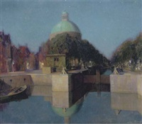 nachtindruk singel, amsterdam: view of an amsterdam canal by josef karel frans posenaer