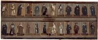 der 19 gemälde mit zahlreichen darstellungen umfassende figurenzyklus von unterschiedlichen formaten in der art einer ahnengalerie, äbtissinnen, adelige, prälaten, deutschordensritte by alessandro piazza